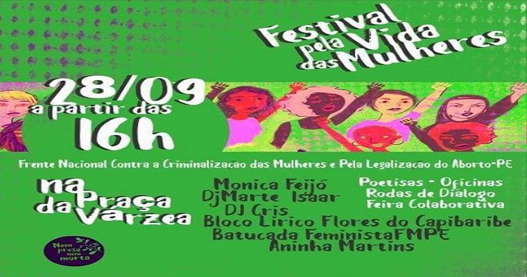 Festival pela Vida das Mulheres será realizado na praça da Várzea