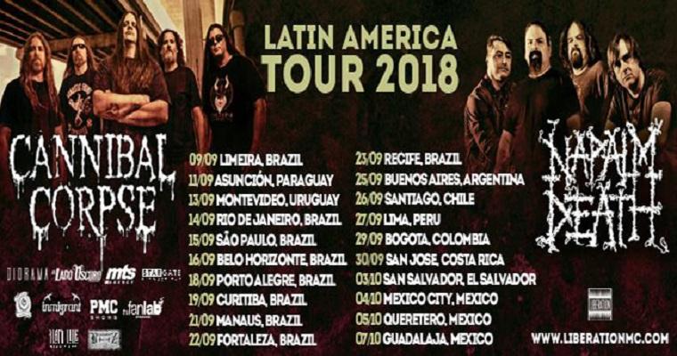 Hoje: Cannibal Corpse e Napalm Death no Baile Perfumado