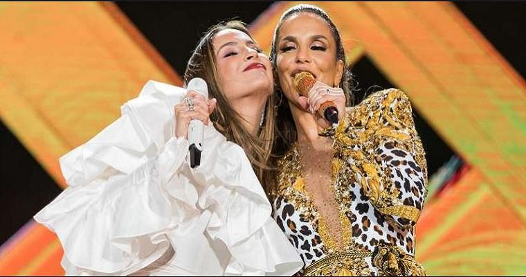 Muito axé: Claudia Leitte e Ivete Sangalo em show juntas no Recife