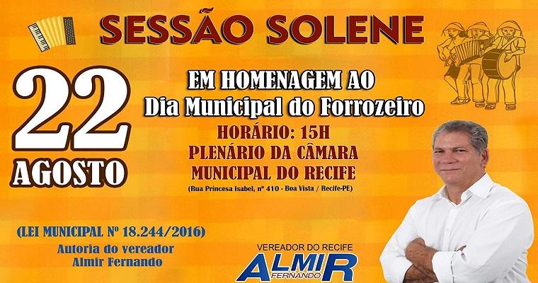 Homenagem ao Dia Municipal do Forrozeiro será nesta quinta-feira